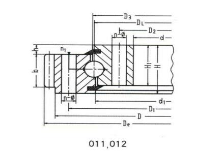 Rodamiento de giro de bola de contacto de cuatro puntos de una hilera (tipo de engranaje externo)