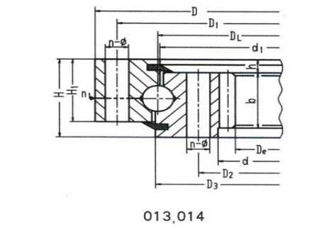 Rodamiento de giro de bola de contacto de cuatro puntos de una hilera (tipo de engranaje interno)