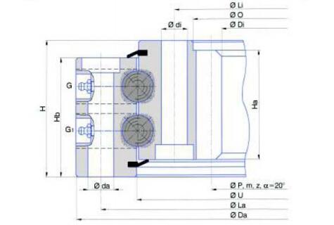 Rodamiento de bolas de doble hilera (tipo de engranaje interno)