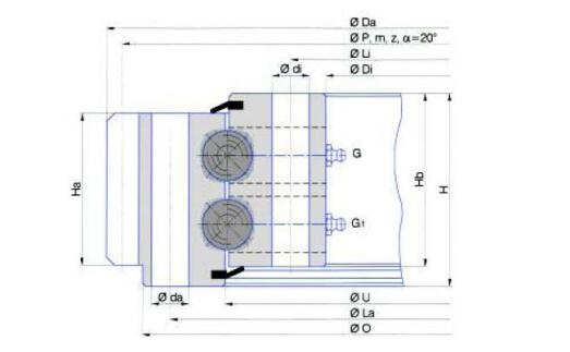 Rodamiento de bolas de doble hilera (tipo de engranaje externo)